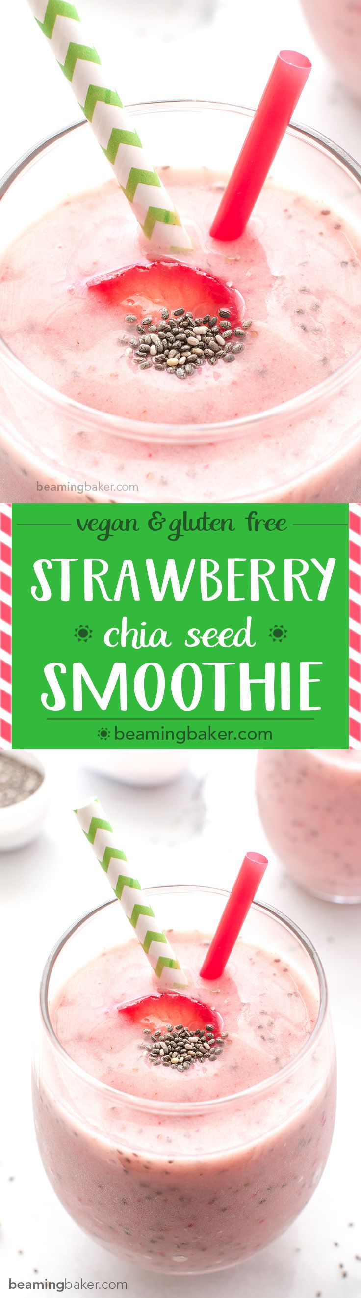 Strawberry Chia Seed Smoothie (V+GF): A cool, refreshing and super thick strawberry smoothie that tastes just like a strawberry fruit popsicle! BeamingBaker.com #Vegan #GlutenFree
