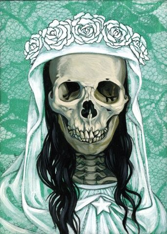 ☆ Mini Santa Muerte in White on Turquoise :¦: Artist Briana Bainbridge ☆
