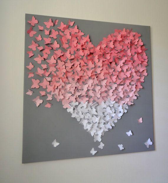 Declaration De Papillon 3d Xl Mur Rose Art Lumiere Par Ronandnoy