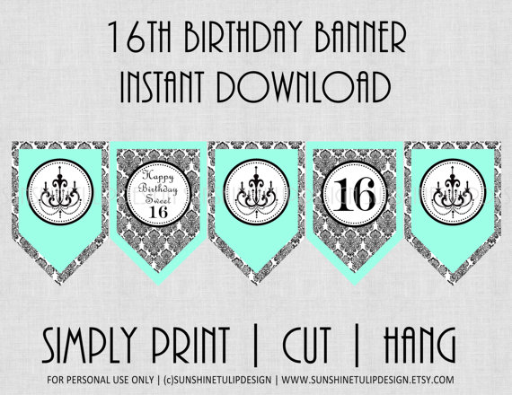 Printable 16th Birthday Banner Printable Sweet 16 Banner Etsy 40th Birthday Banner Birthday Banner 16th Birthday