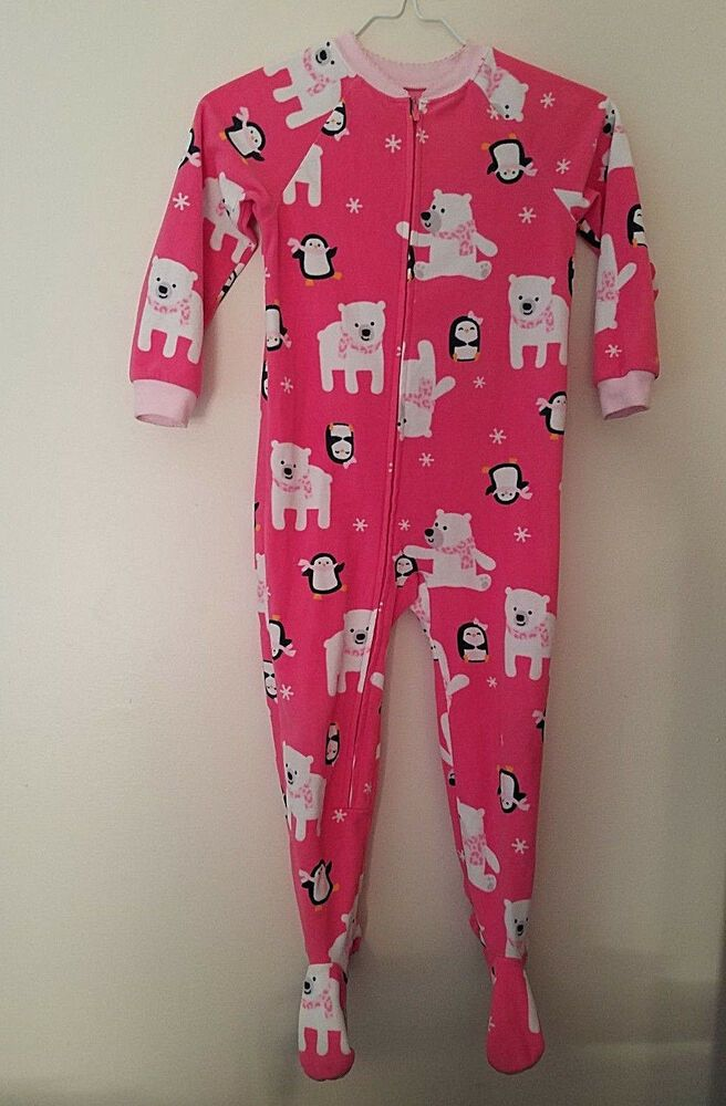 dded8f27762b Carters Girls Sleeper Footed Pajamas 5T Full Zipper Pink Penguins ...