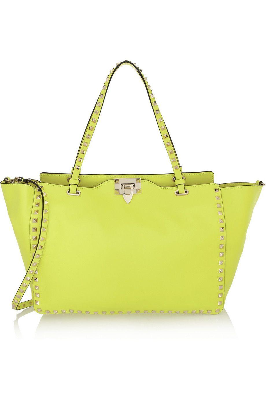 Valentino The Rockstud Neon Leather Tze Bag Yellow