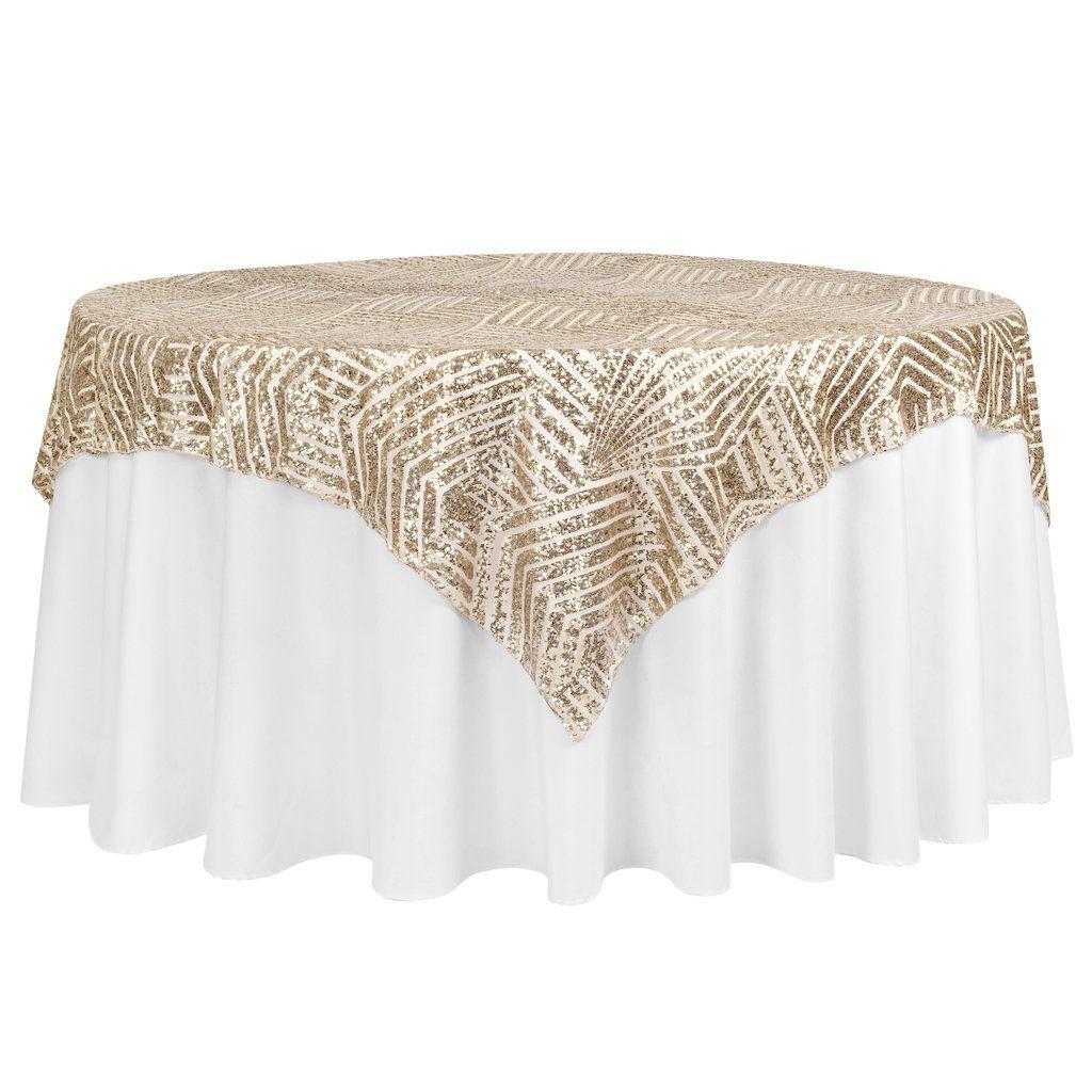 Geometric Glitz Art Deco Sequin Table Overlay Topper 72 X72
