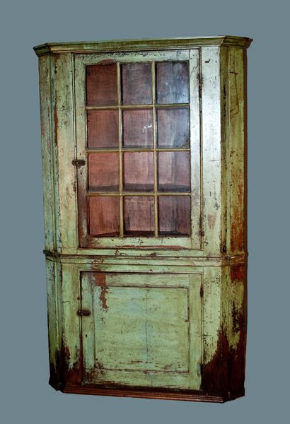 antique painted corner cupboards | Early Glass-Door Corner Cupboard in  Green Paint - Antique Painted Corner Cupboards Early Glass-Door Corner