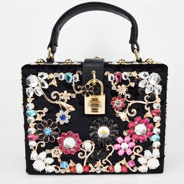 36761dfd0f Fashion Prom evening bag diamond flower Clutch Bag hollow relief Acrylic  luxury handbag banquet party purse