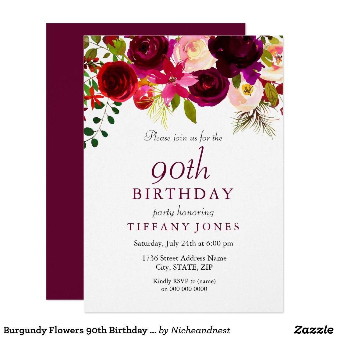 Burgundy Flowers 90th Birthday Party Invitation   90th birthday ...