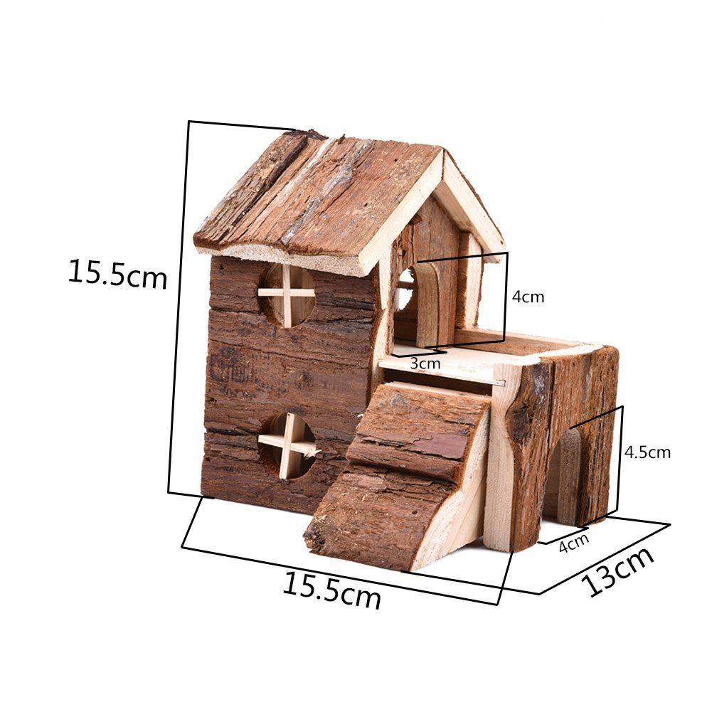 Yunt Hamster Twostory Wooden House Cage Natural Living House For