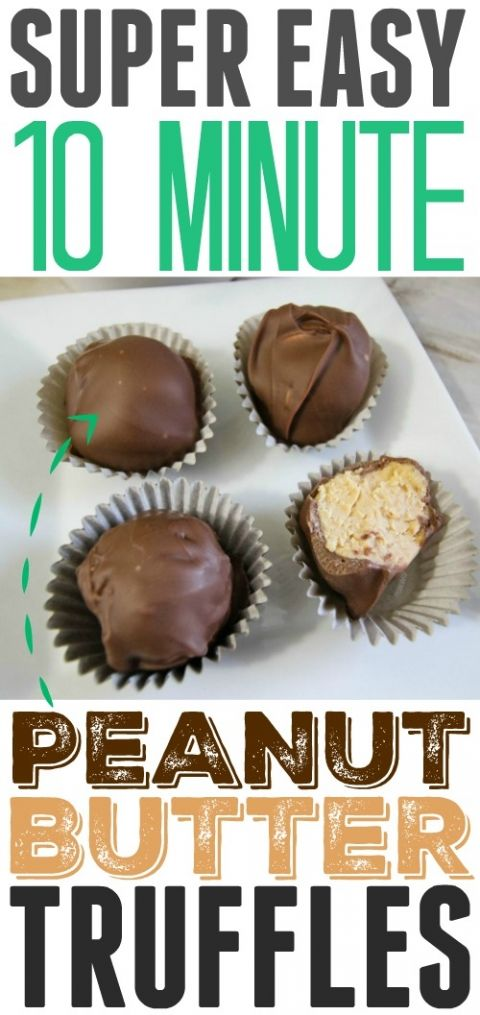 Easy chocolate peanut butter truffles recipe! Only takes 10 minutes!