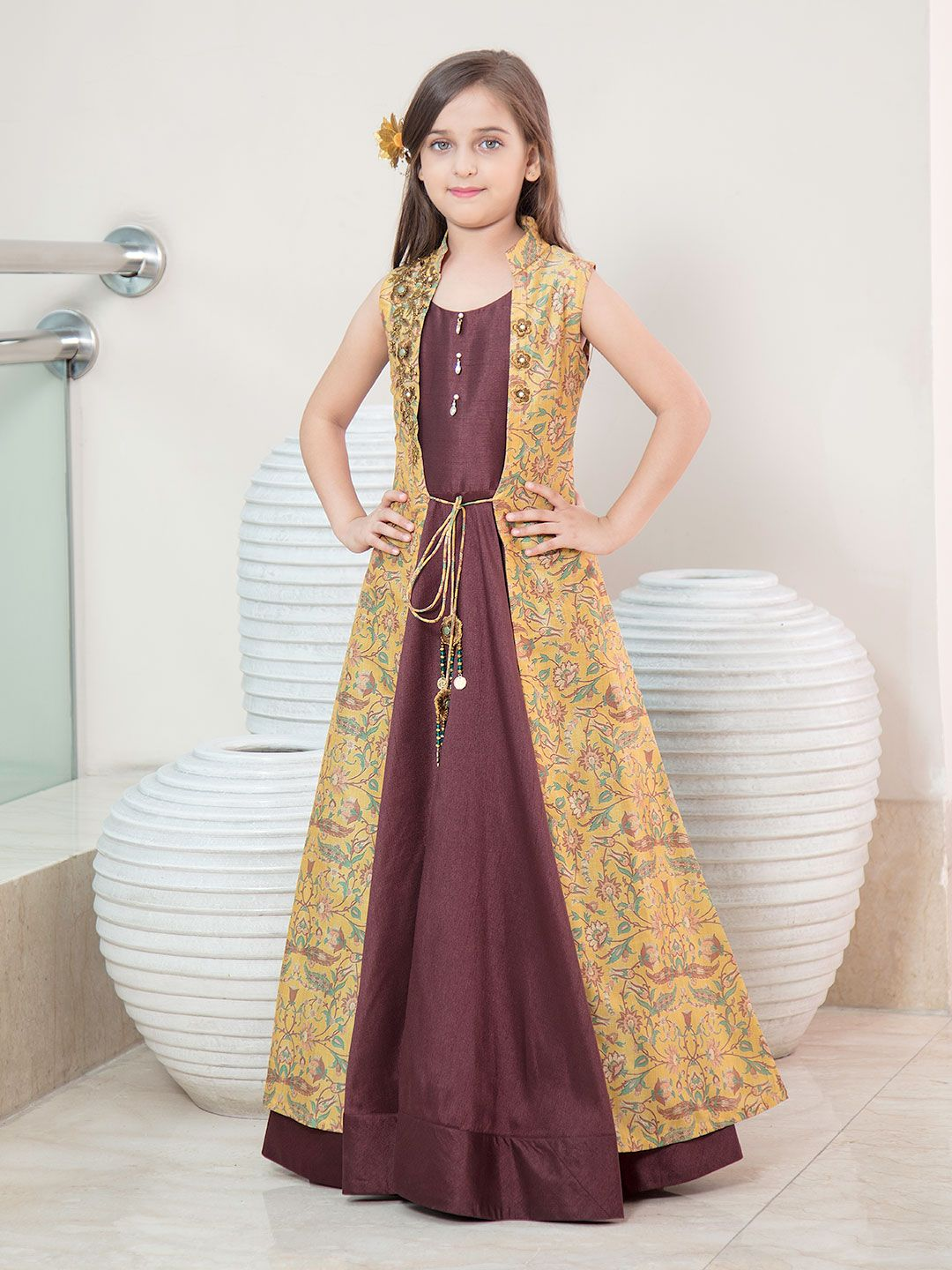 b100518dc89df Brown and yellow jacket style girls gown - G3-GGO0435 | G3fashion.com