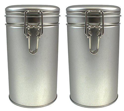 Latching Tea Tin, Tea Canister, Airtight Tea Container, Spice Storage Tins, Stainless Steel Coffee Canister w/ Airtight Latch Rubber Seal, 12 oz (Set of 2) (2) -- Continue to the product at the image link.