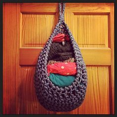 Large hanging basket crocheted with T-Shirt yarn - but you could use Cotton Cord or even a super bulky acrylic yarn