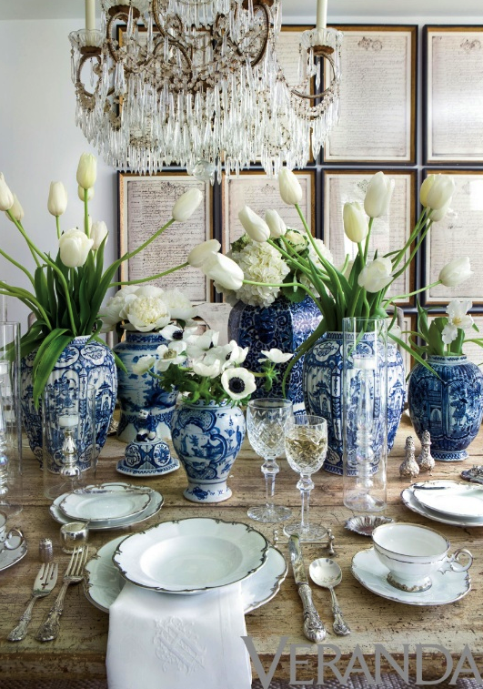 This Table With Blue And White Crystal Fresh Tulips Stunning