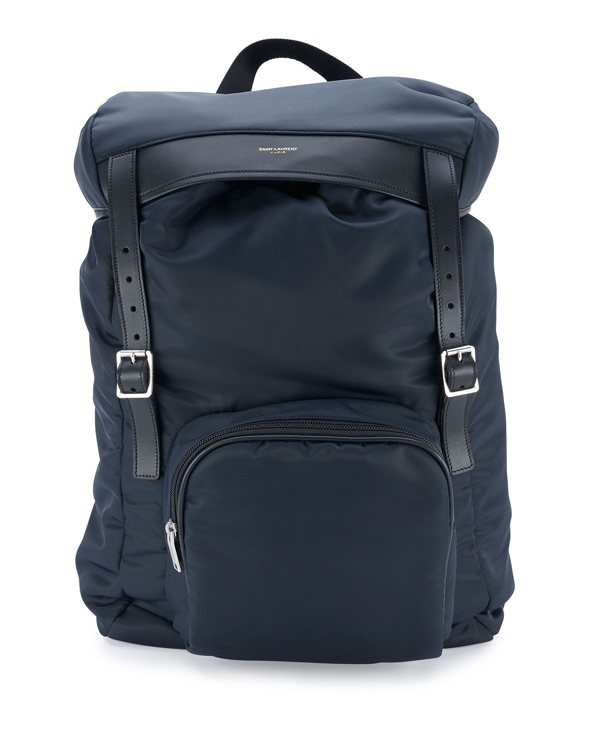 7a5a019ecc0 Yves Saint Laurent Nylon Hunting Backpack w Leather Trim