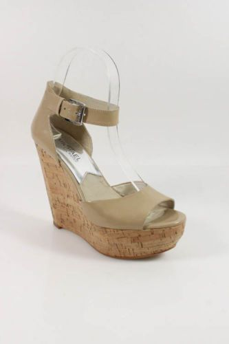 MICHAEL MICHAEL KORS Nude Patent Leather Ankle Strap Wedges Sz 6M $49
