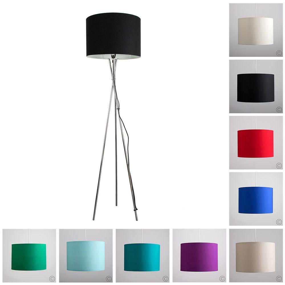 Modern tripod floor lamp chrome white black coloured shade modern tripod floor lamp chrome white black coloured shade lampshades light in home furniture diy lighting lamps mozeypictures Images