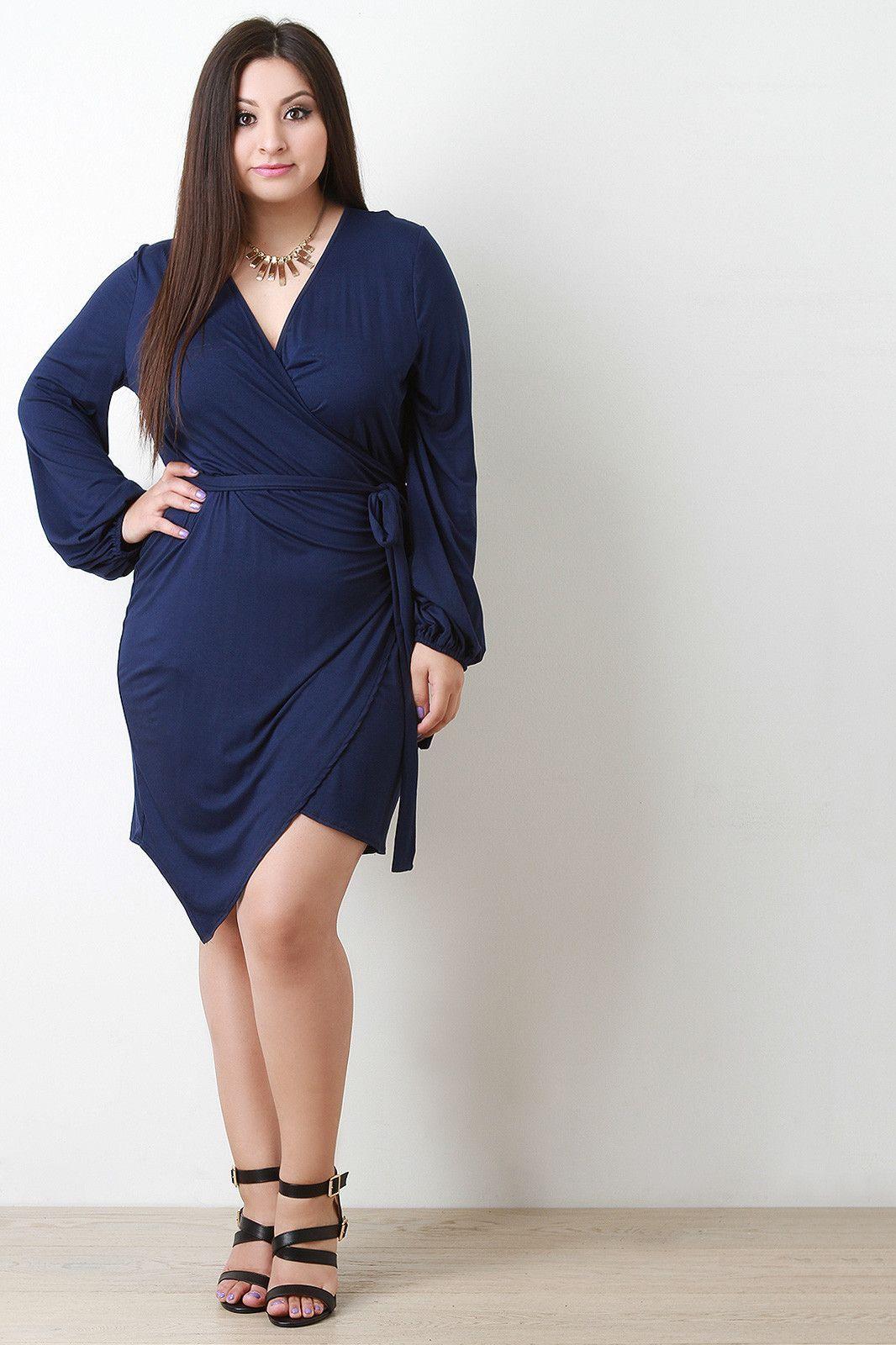 Long sleeve asymmetrical hem wrap dress products