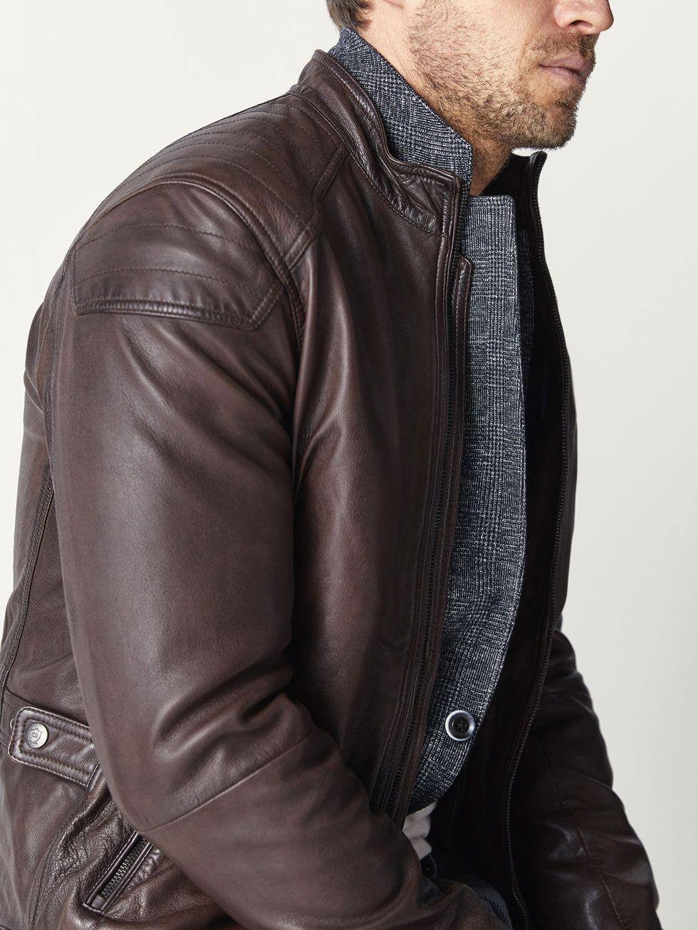 Nappa Jacket With Seam Detail Men Massimo Dutti Jacken [ 1306 x 980 Pixel ]