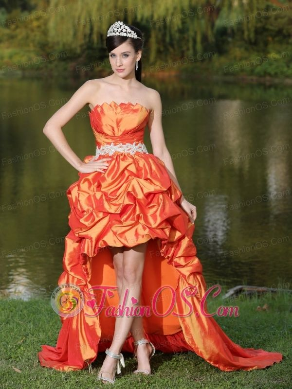 High-Low Orange Red Taffeta Dama Dresses for Quinceanera With ...