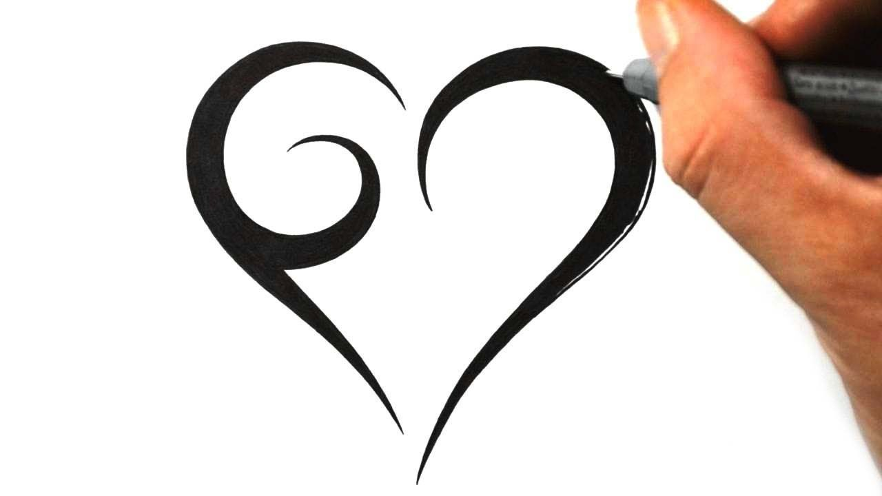 How To Draw A Simple Tribal Heart Tattoo Design 1 Tribal Heart Tattoos Simple Heart Tattoos Heart Tattoo