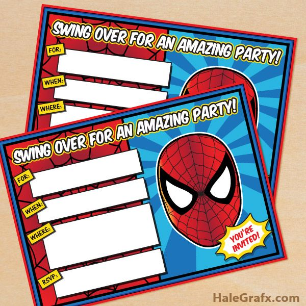 Click here to download FREE Printable Spider-man Birthday