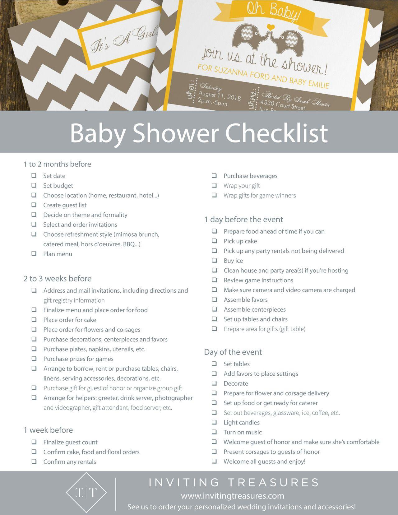 baby shower planning timeline checklist