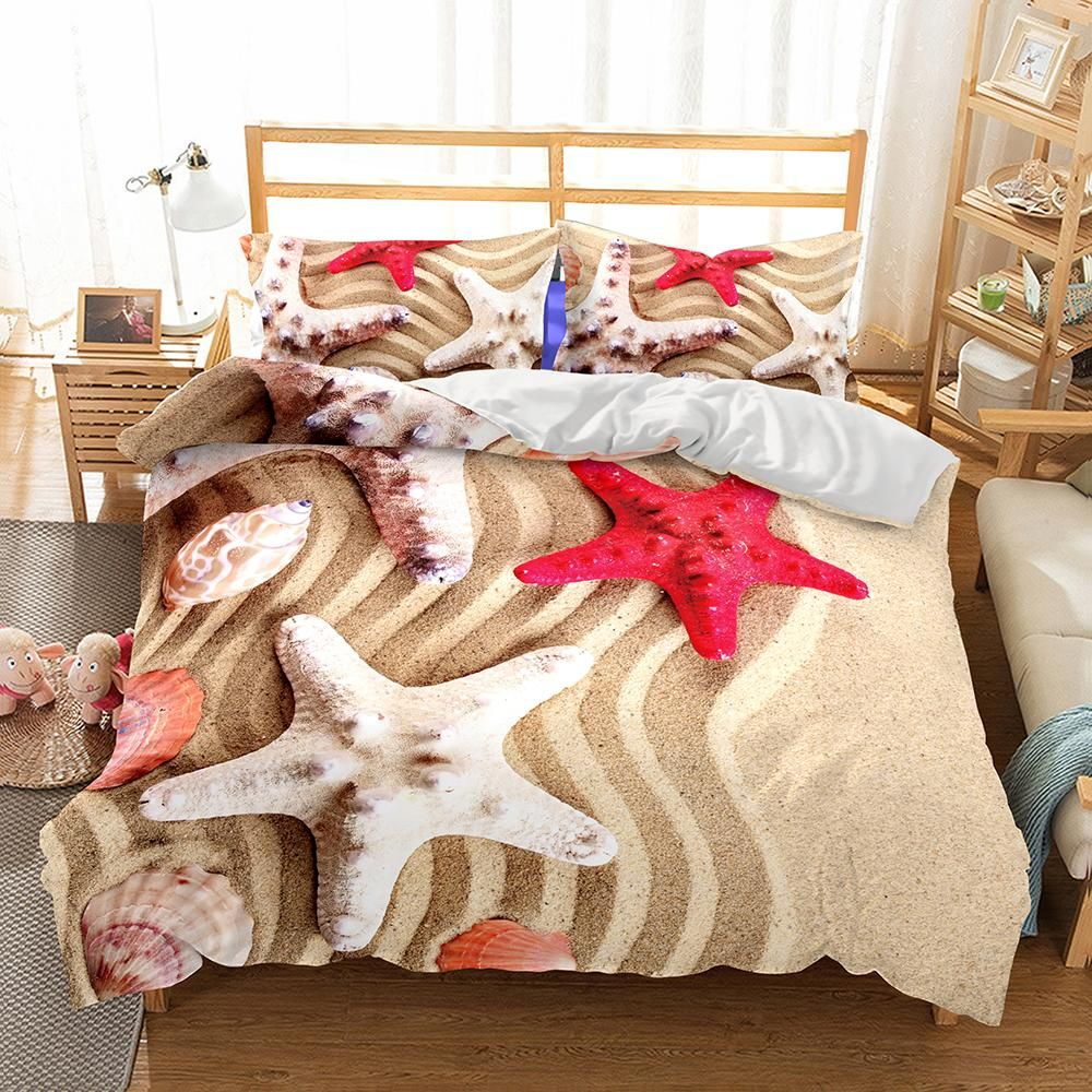 Wholesale Bedding 3d Natural Scenery Starfish Printed Bedding Sets