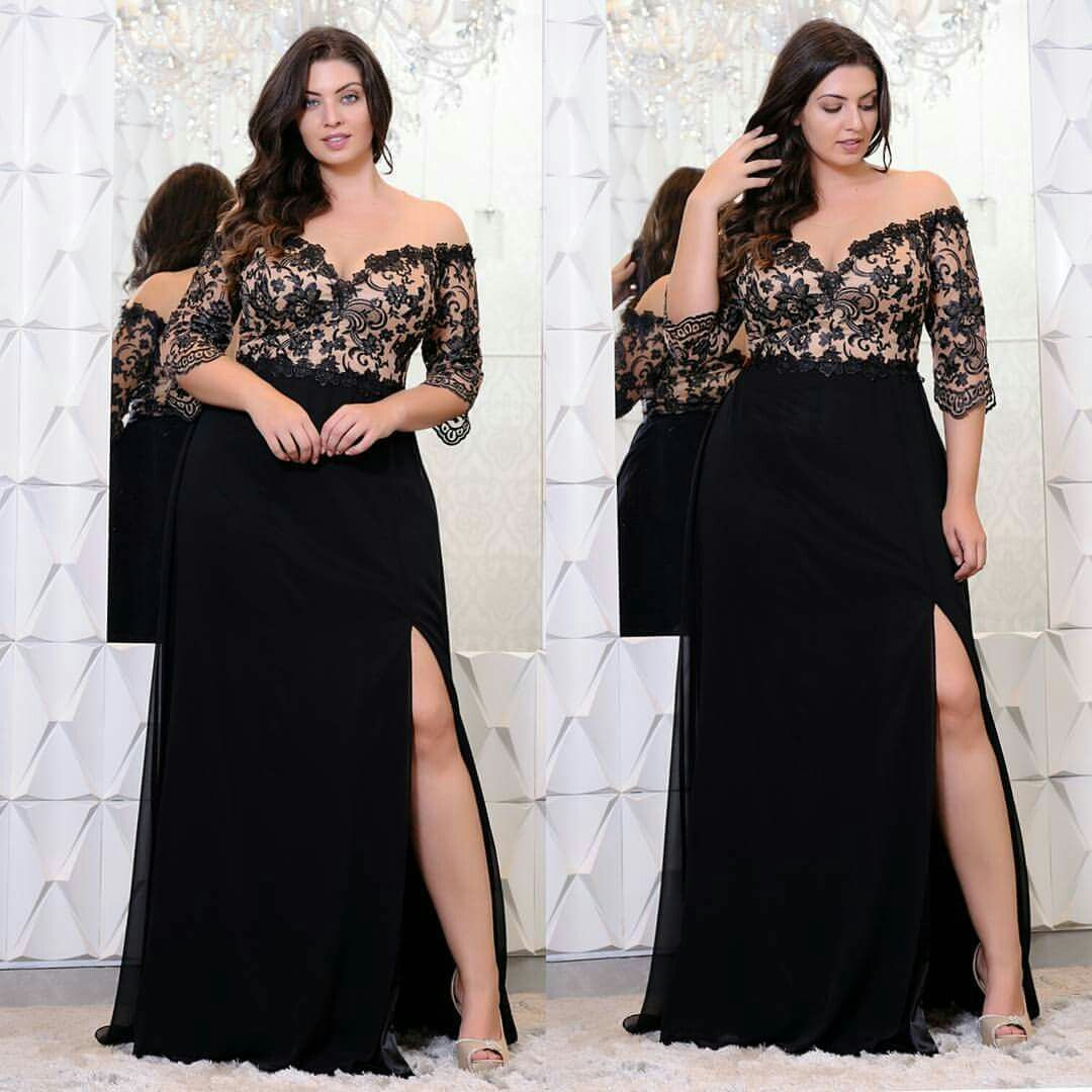 e5fe828d73d92 Black Lace Plus Size Prom Dresses With Half Sleeves Off The Shoulder ...