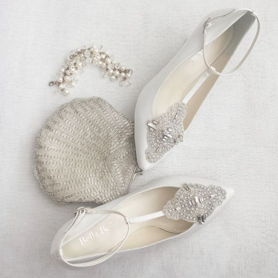Art Deco White Or Ivory Wedding Shoes With Great Gatsby Crystal Applique T Strap Kitten Heel Silk Satin Bridal