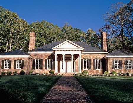 Plan 32462wp Grand One Level Home Plan Colonial House Plans Southern House Plans Facade House