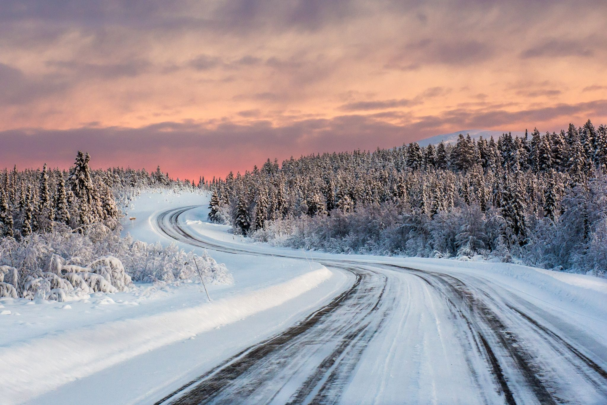 Winter Road In Rural Country