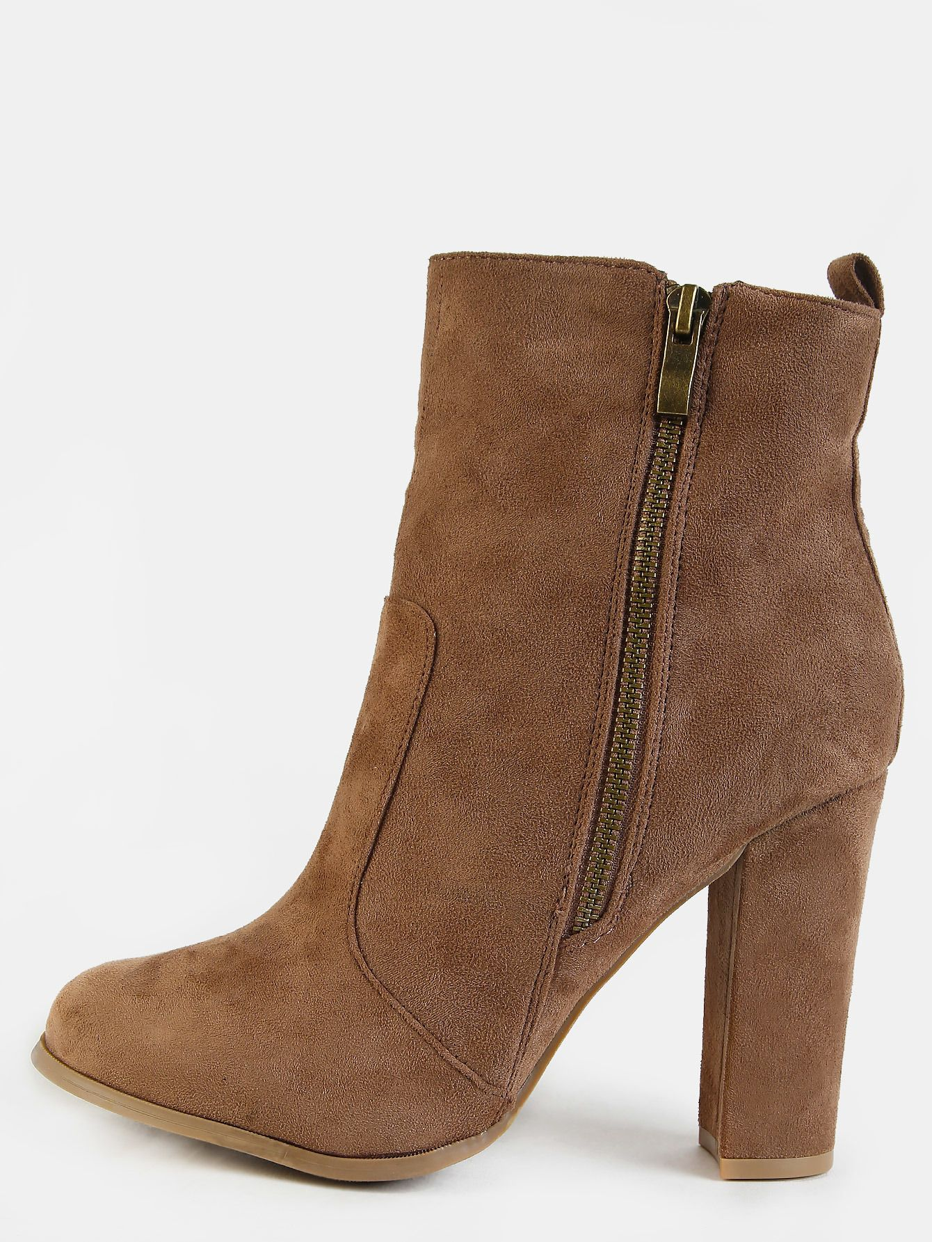 Women's Fashion Zipper Faux Suede Chunky High Heel Ankle Boots