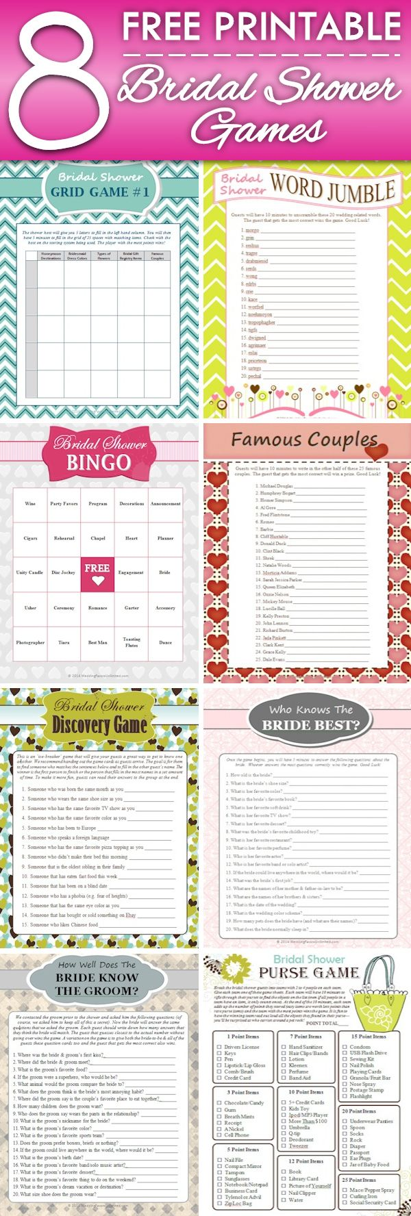 8 FREE Printable Bridal Shower Games - download some fun today! | My ...