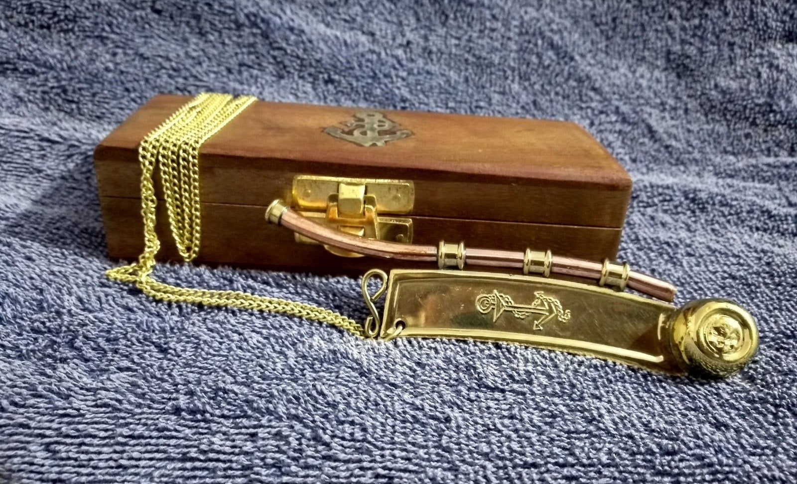 Boatswain/'s Whistle Copper /& Brass with chain and Wooden BOX Bosun/'s pipe