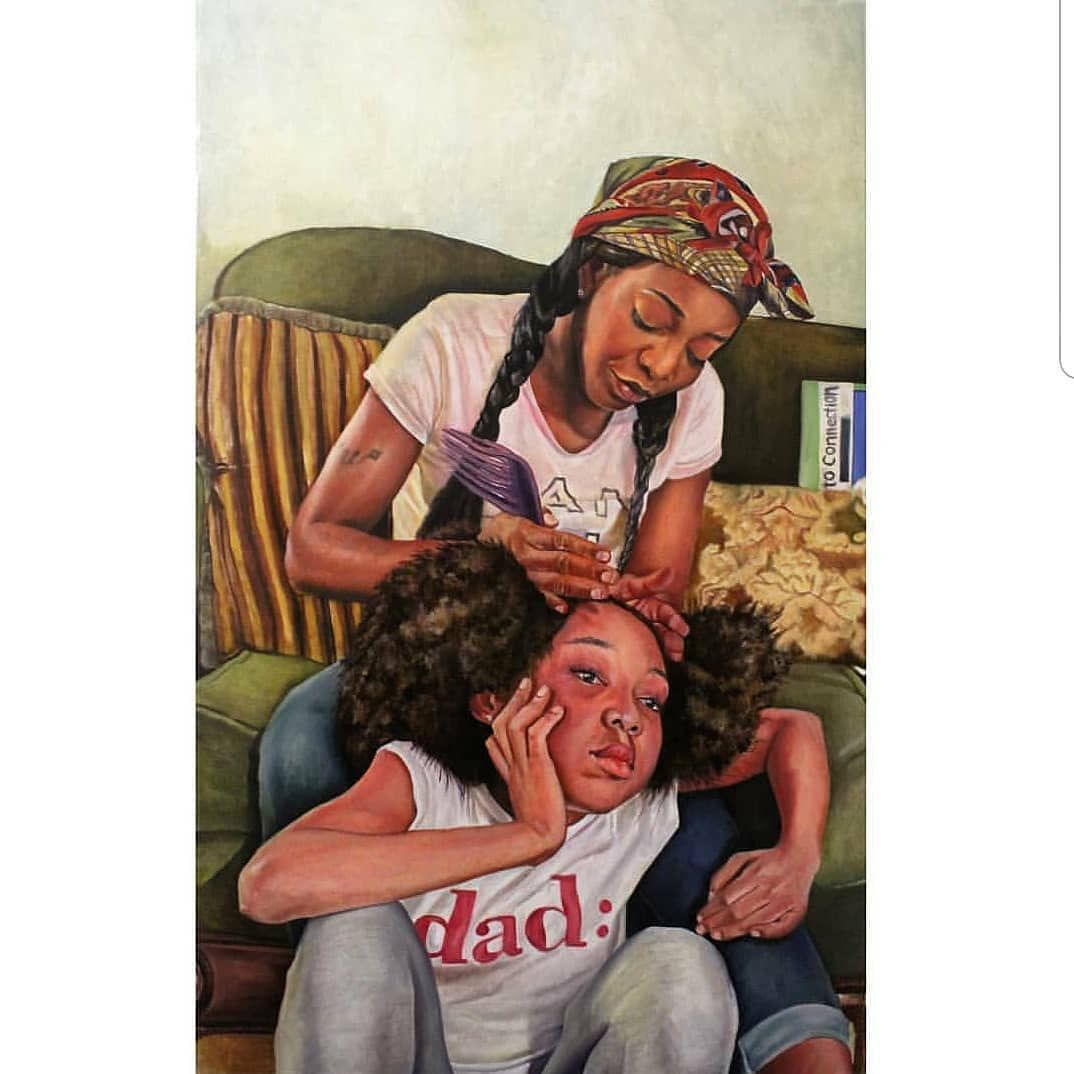 #DopeBlackArt  by @tballon_art I have no children except my paintings.🤣 But this is for #nationaldaughterday. God bless🙏