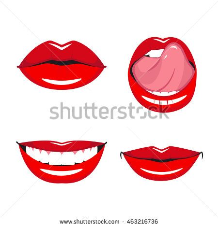 Set Of Vector Red Lips Various Types Of Woman Lips Broad Smile