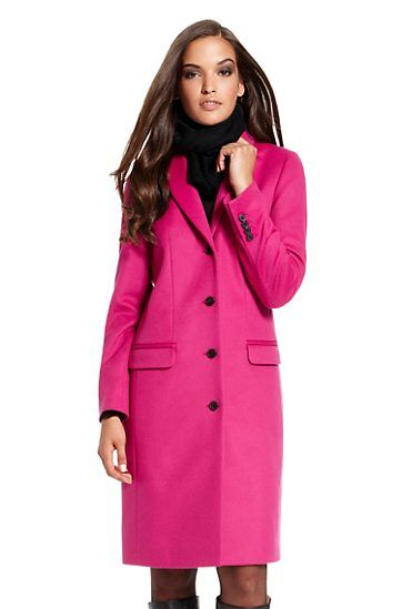 Virgin Wool-Cashmere 'Cavani' Long Coat, Dark Pink