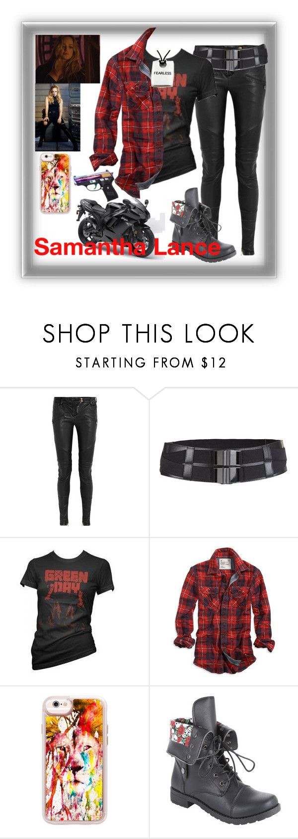 """""""Sam Lance"""" by ironkyle ❤ liked on Polyvore featuring Balmain, American Eagle Outfitters, Casetify and Kawasaki"""