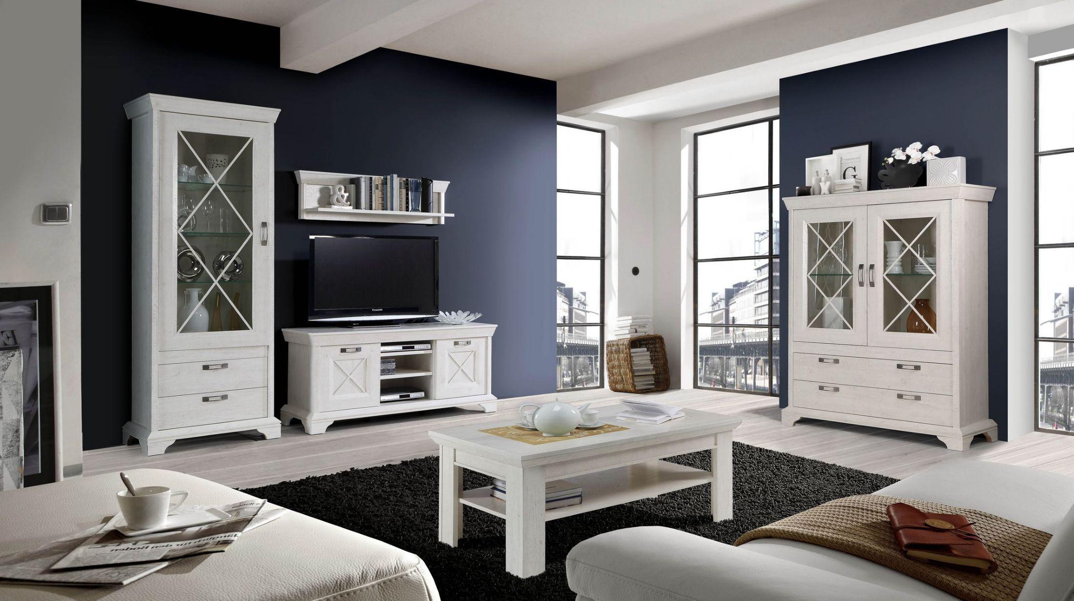 Lieblich Wohnzimmer Set In Pinie Weiss Mit Led Beleuchtung Woody 77 00850 Holz  Landhaus