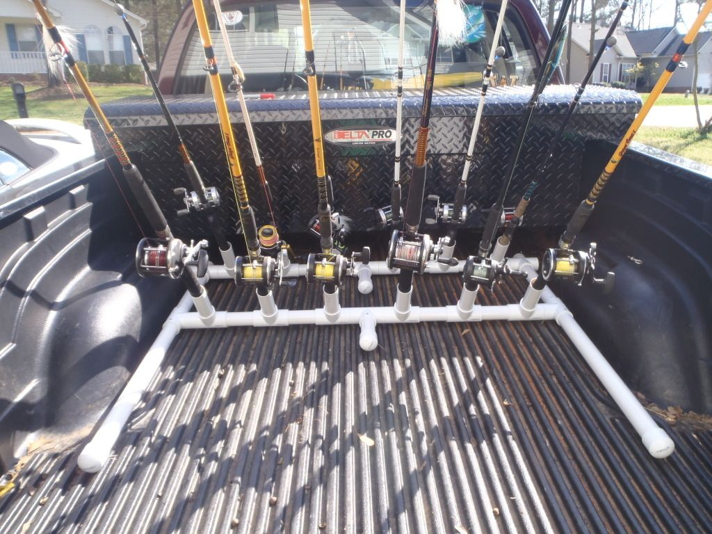 Pvc fishing rod storags racks fishing rods pinterest for Truck bed fishing rod holder