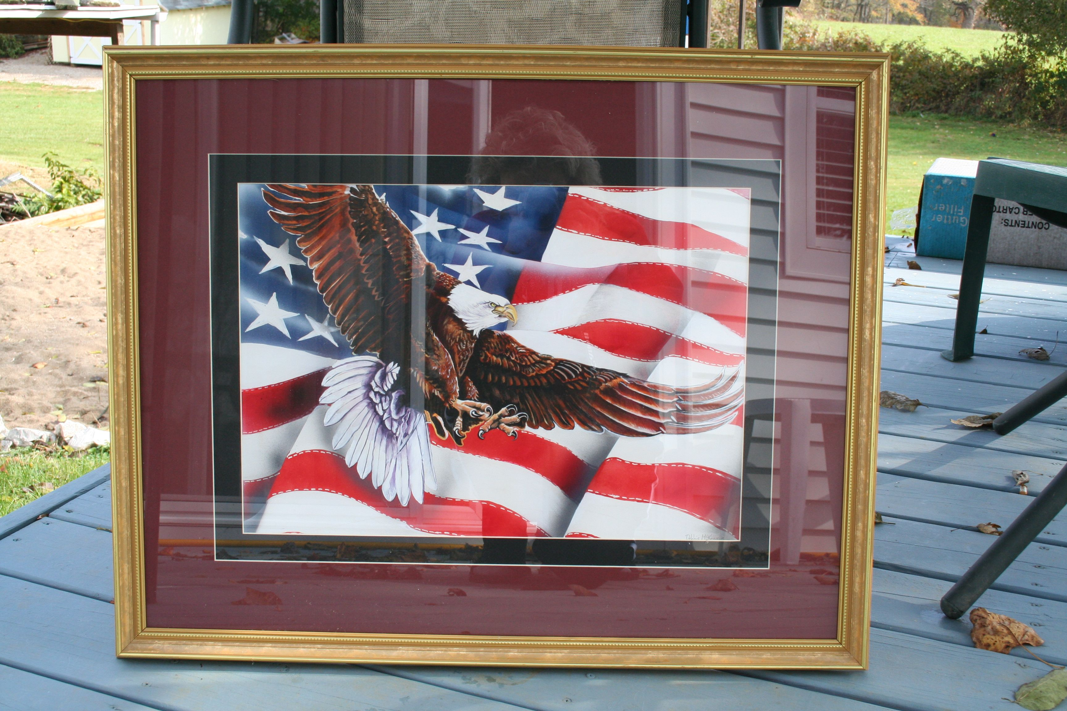 """Eagle on Flag I did in watercolor. appx. 20"""" x 24"""". $250."""
