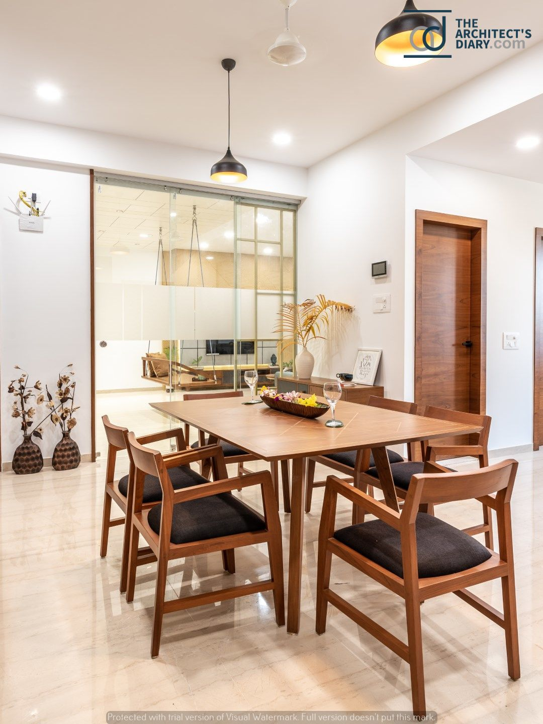Swaram A Contemporary House Trendy Dining Room Dining Table