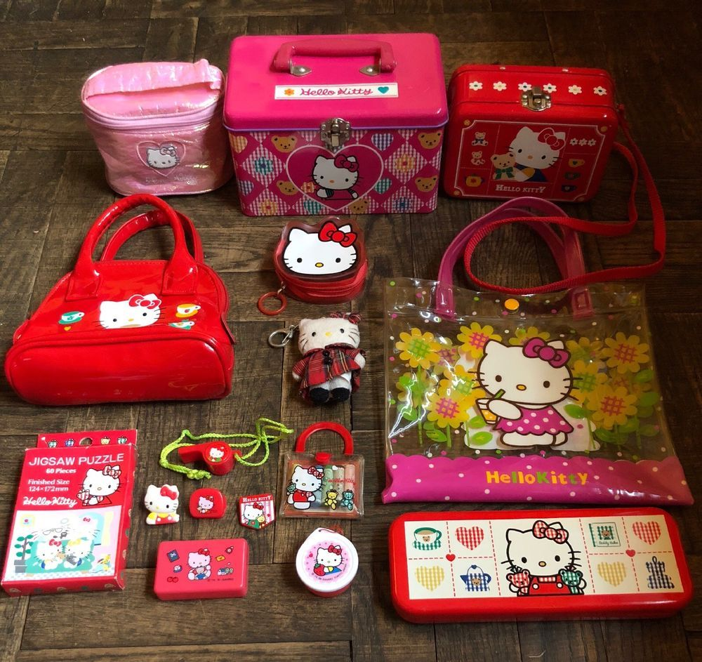 b3218f09b Vintage 90's Sanrio Hello Kitty Lot 16 Pieces Rare Collectibles Trinkets