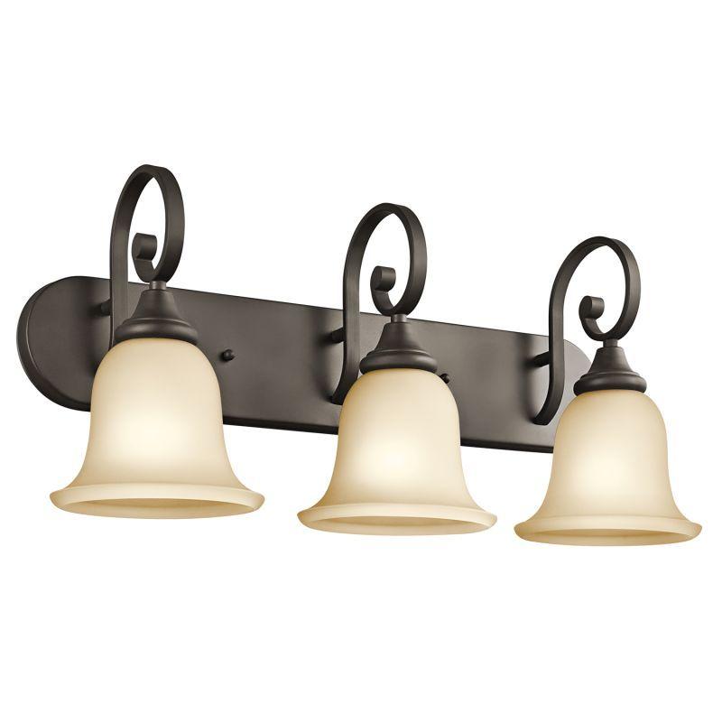 """Kichler 45055 Monroe 24"""" Wide 3 Light Bathroom Vanity Light Olde Bronze Indoor Lighting Bathroom Fixtures Vanity Light"""