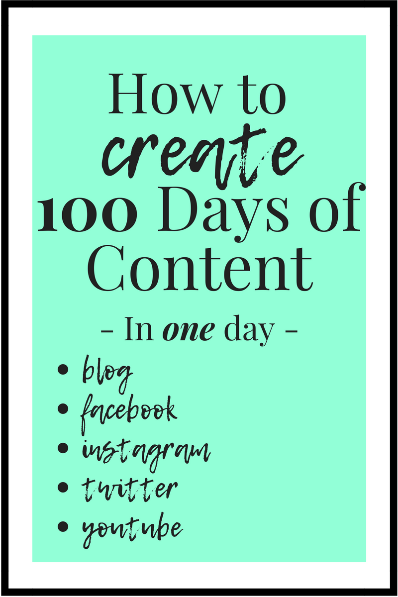 How to Create 100 pieces of Content for your blog, Facebook, Instagram, Twitter, Youtube and so on in just ONE day.