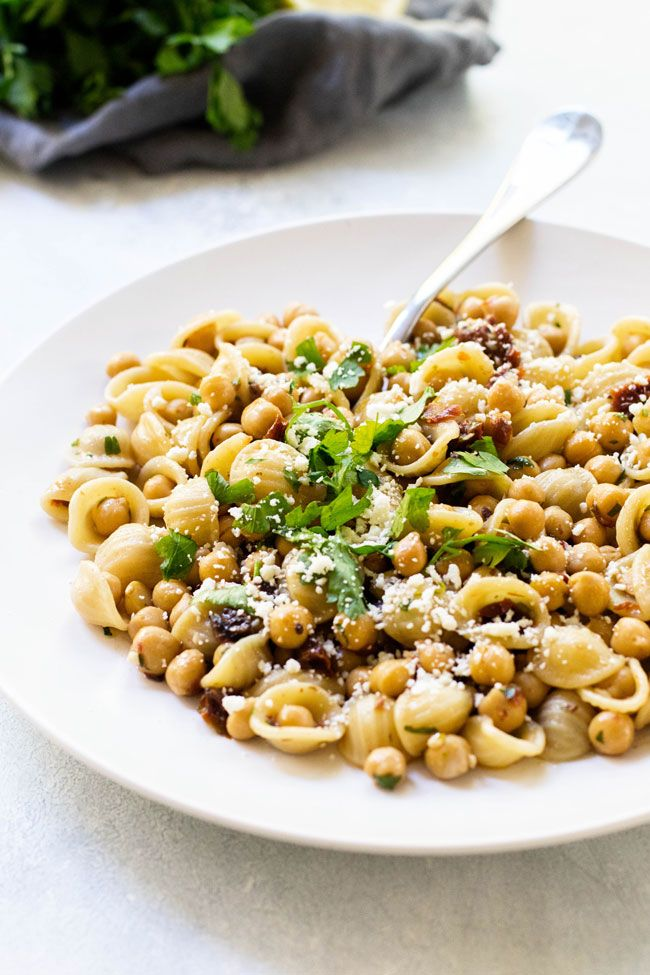 Orecchiette with Chickpeas and Feta This quick chickpeas and feta pasta is an easy dinner that's fu