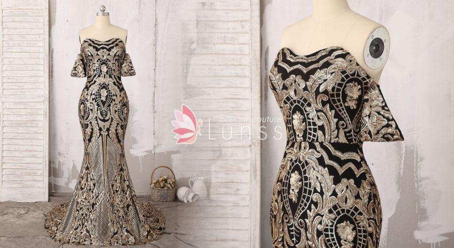 luxury strapless sparkling gold black mermaid dress with detachable sleeves b23b7d5bb57e