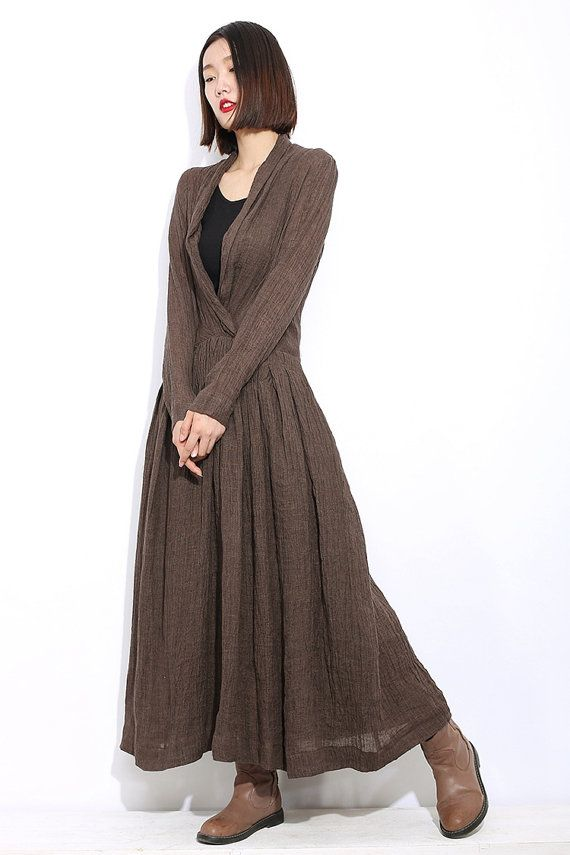 4b4aeaaa9b0d brown linen dress Long sleeves dress C304 by YL1dress on Etsy