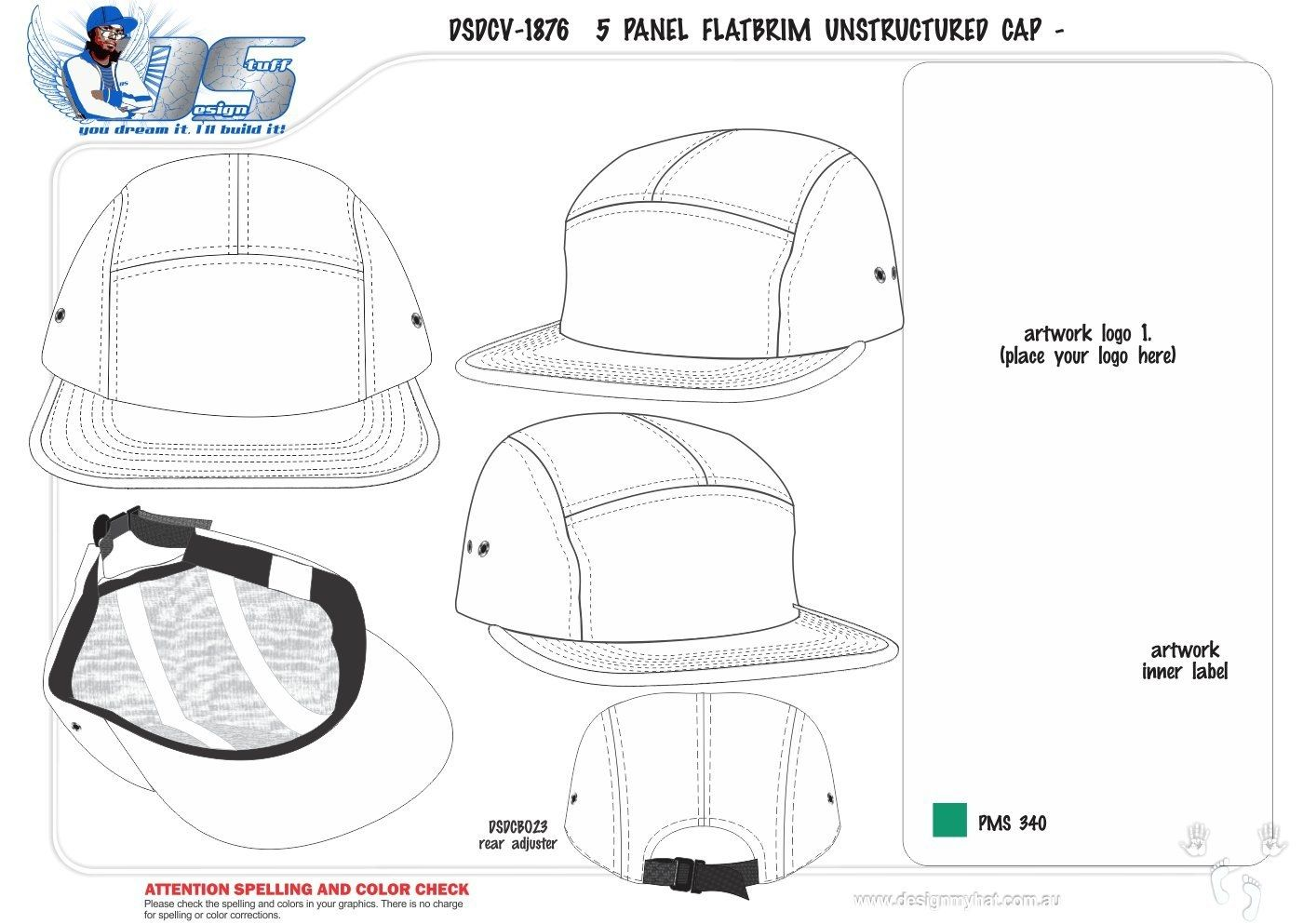 eda44fd04427a7 Image result for sewing pattern for a 5 panel cap | drafting | Hat ...
