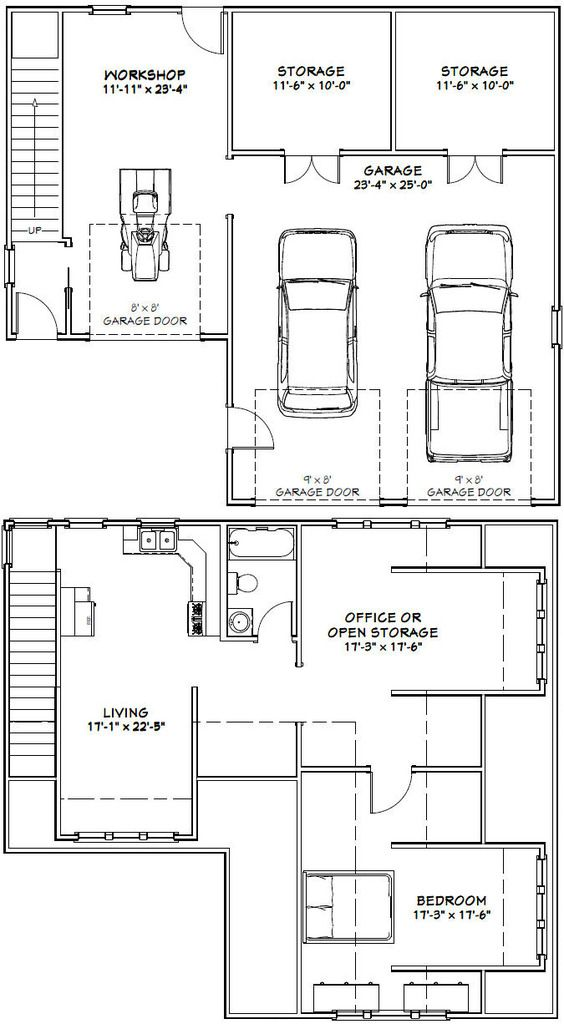 40x36 2 Car Garage 40x36g10c 2 110 Sq Ft Excellent Floor Plans Carriage House Plans Guest House Plans Garage Plans