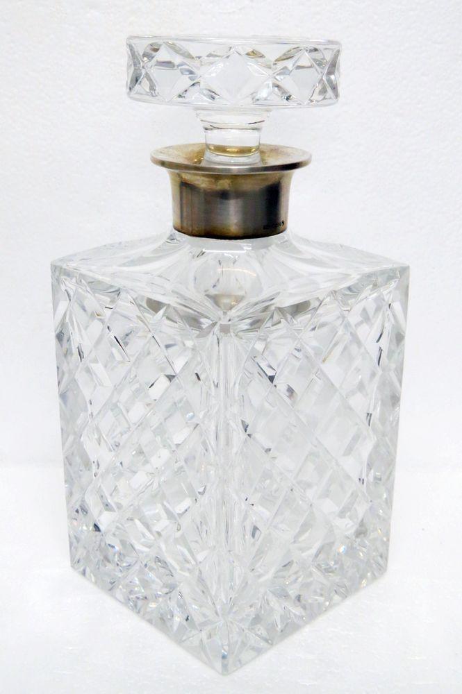 925 sterlingsilber blei kristall whiskey cognac glas karaffe glaskaraffe flasche whiskey. Black Bedroom Furniture Sets. Home Design Ideas